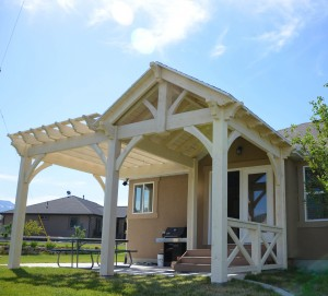 Pavilion with Decorative Pergola and custom rail