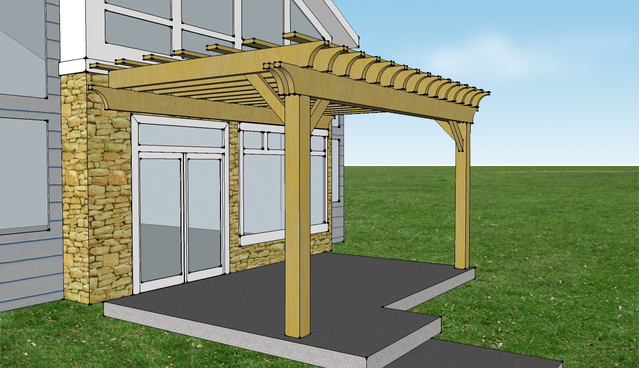Enhanced Size, 20'x12', and Cove cut - Attached 2-beam Pergola Kit